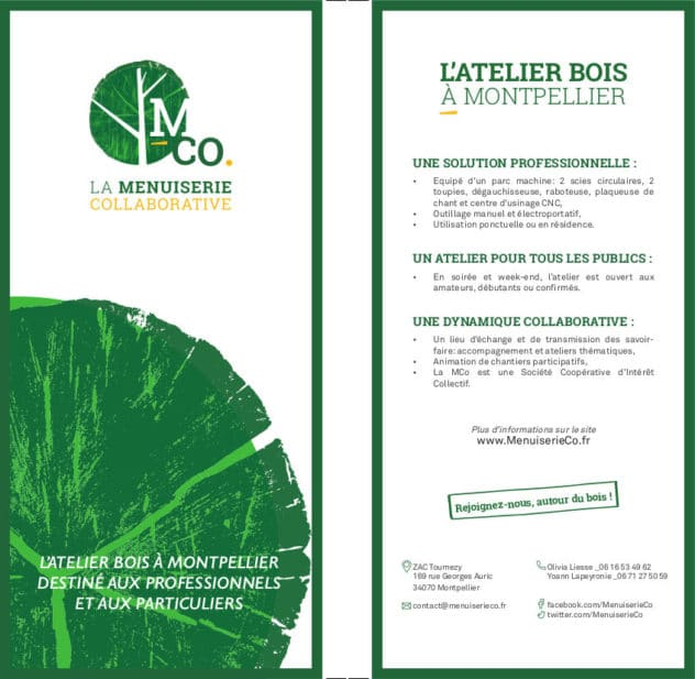 Le flyer de la menuiserie collaborative